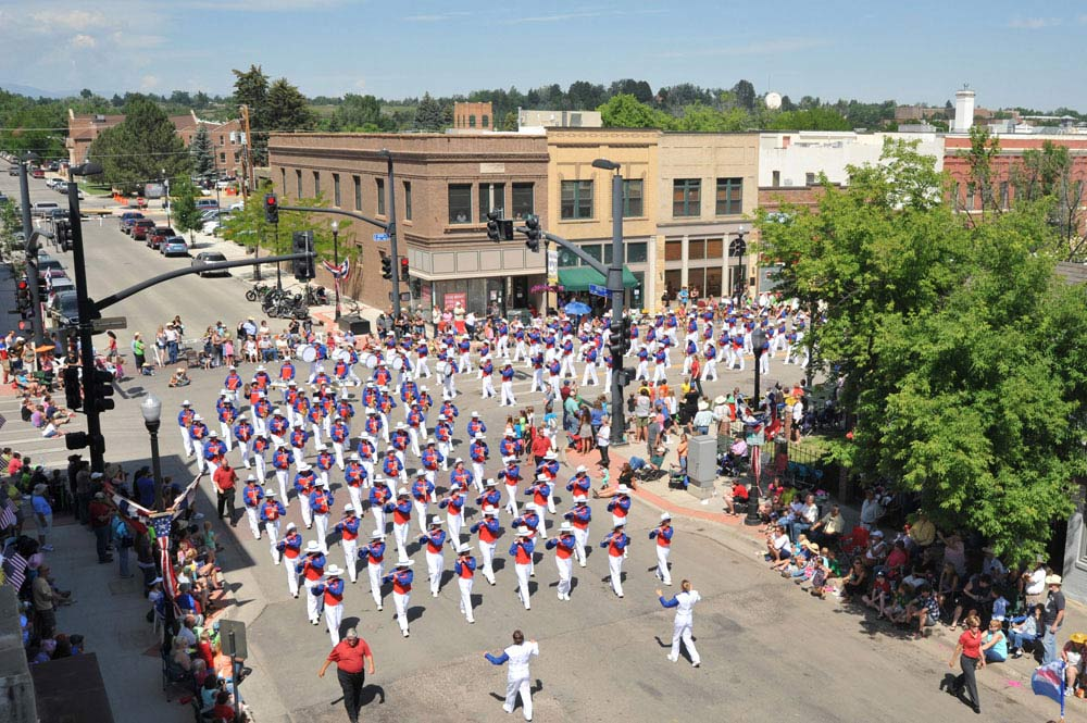 The Wyoming All State Band marches around the corner on East Works and Main Street during the 2014 Sheridan WYO Rodeo Parade Friday morning.